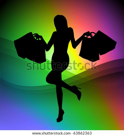 Shopping girl illustration on colorful background