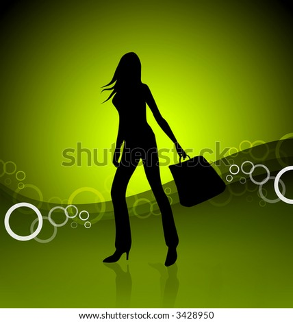 Shopping girl illustration on glowing green lime background