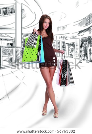 Shopping girl on drawing  the background