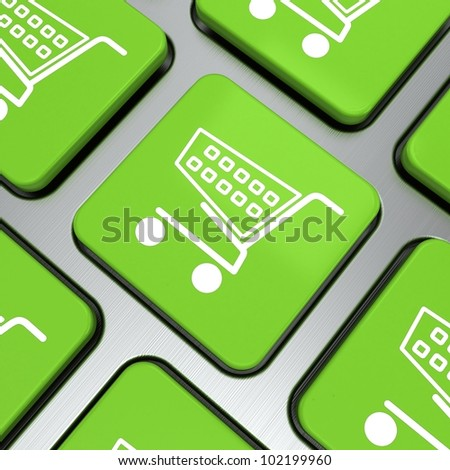 Shopping icon on button with keyboard. 3d render