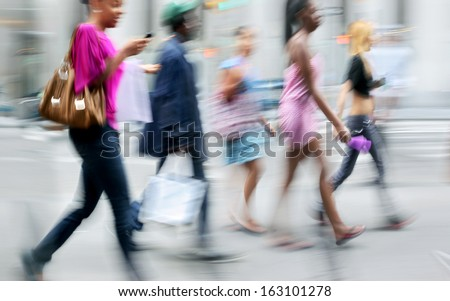 shopping in the city in motion blur style