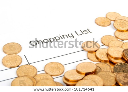 Shopping list and coin