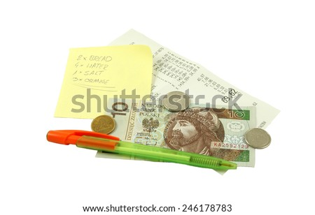 Shopping list with pen, receipt and Polish money (bill and coins) Zdjęcia stock ©