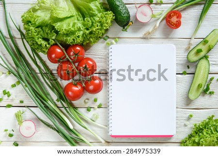 shopping list with vegetables. Salad vegetable, recipe book, copy space