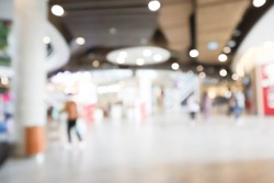 shopping mall abstract defocused blurred background.