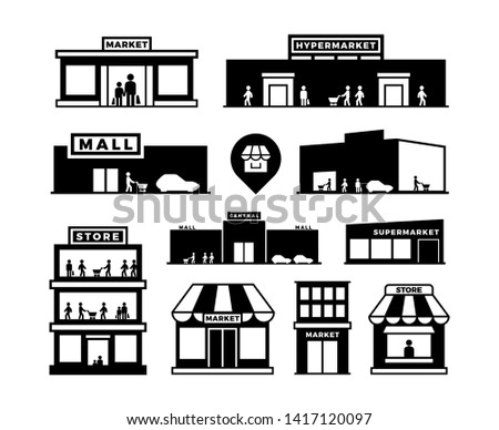 Shopping mall buildings icons. Store exteriors with people pictograms. Shop houses with shoppers . Monochrome building shop, store and market, supermarket exterior, retail storefronts