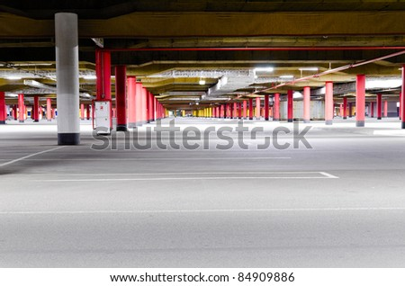 shopping mall underground parking garage, without any cars