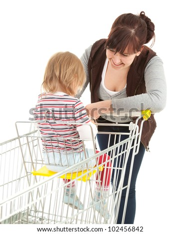 shopping mother with baby in trolley, white background