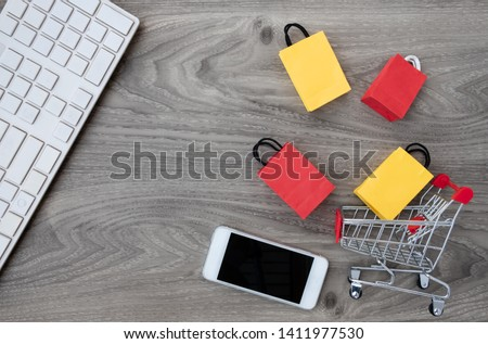 shopping online at home concept. copy space for add text.