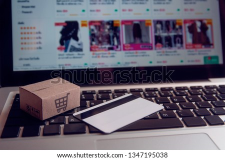 549d257dbb5 Shopping online concept - Shopping service on The online web. with payment  by credit card