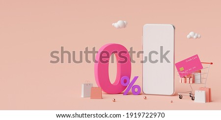 Shopping online on smartphone with special offer 0% interest installment payments, 3d illustration