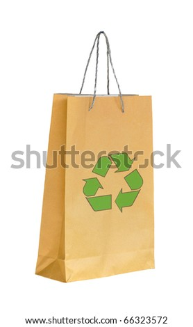 Shopping paper bag made from recycle paper with recycle symbol