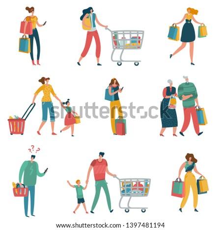Shopping people. Persons shop family basket cart consume retail purchase store shopaholic mall supermarket shopper flat set