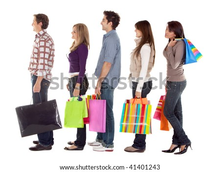 shopping people smiling with shopping bags - isolated over a white background