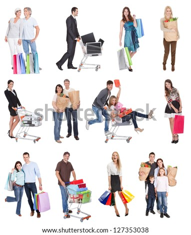 Shopping people with bags and baskets. Isolated on white