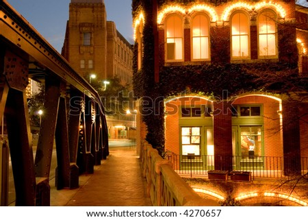Shopping place and cafes along river in downtown San Antonio