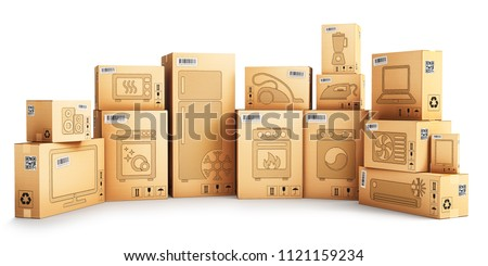 Shopping, purchase and delivery concept, cardboard boxes with household appliances and kitchen electronics isolated on white background, 3d illustration