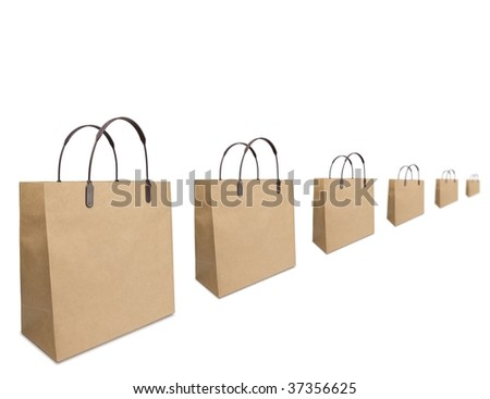 Shopping season concept image. Typical brown shopping bags aligned