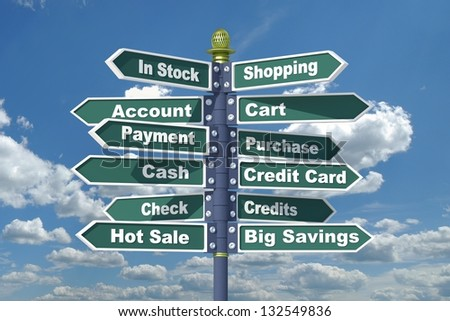 Shopping signpost. - stock photo