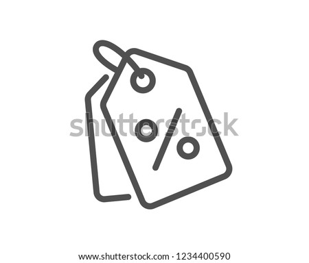 Shopping tags line icon. Special offer sign. Discount coupons symbol. Quality flat web app element. Line design Discount tags icon.