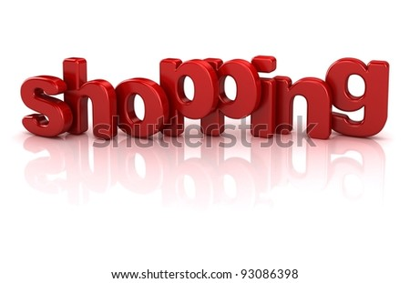 shopping text 3d isolated over white background