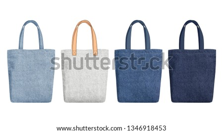 Shopping Tote Bags with different handles, Mockup with fabric texture isolated on white background