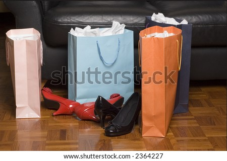 shopping trip with shoes and bags
