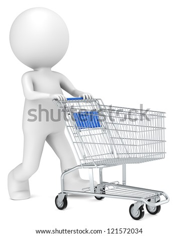 Shopping Trolley. 3D little human character with pushing a Shopping Trolley. Blue side view. People series.