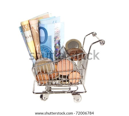 shopping trolley full of money for spending