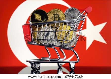 Shopping Trolley full of physical version of Cryptocurrencies (Bitcoin, Litecoin, Dash, Ethereum) and Turkey Flag.