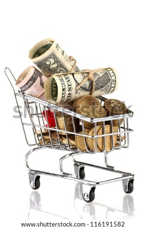 shopping trolley with dollars and Ukrainian coins, isolated on white