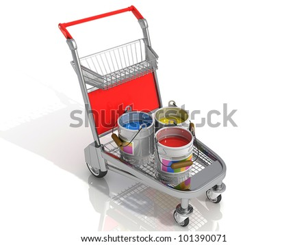 Shopping trolley with paints