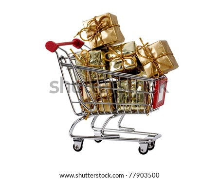 Shopping trolley with presents isolated on white
