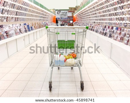 shopping trolley with purchases in the supermarket. Focus is under the back site of it