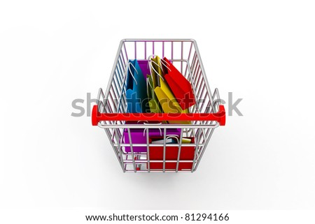 Shopping TROLLEY with shopping bags