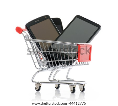 shopping trolley with smart phones
