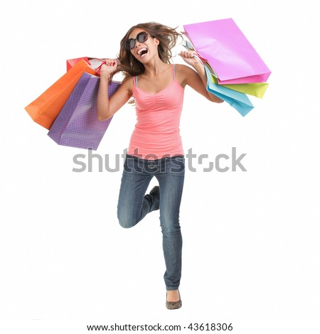 Shopping woman. Cheerful young woman running of happiness after a shopping spree. Full length isolated on white background.