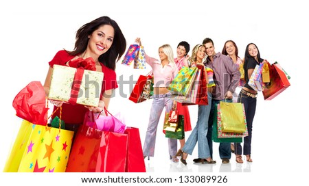 Shopping woman group. Isolated on white background.