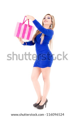 Shopping woman holding bags,  isolated on white studio background.