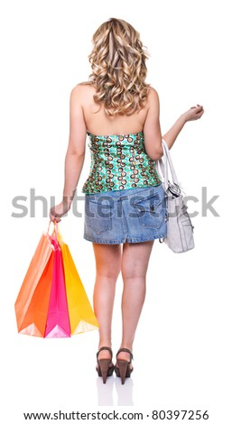 shopping woman isolated on white background