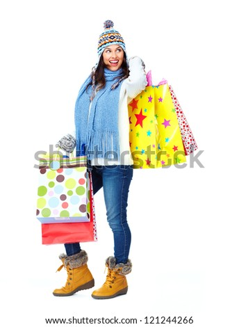 Shopping woman with a bags isolated on white background.