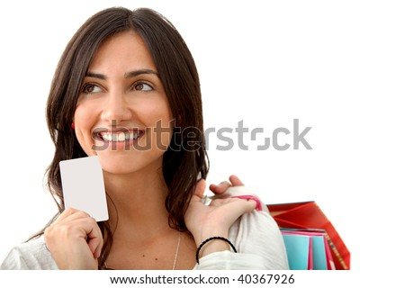 shopping woman with credit card isolated on white