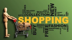 Shopping Wordcloud Collage With Wooden Man And Shopper Cart On Green Background. Panorama