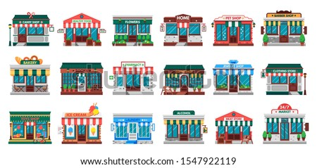 Shops facades. Laundry building, hardware store facade and pharmacy shop. Business cafe, local shopping stores street supermarket or downtown restaurant. Flat  isolated icons set
