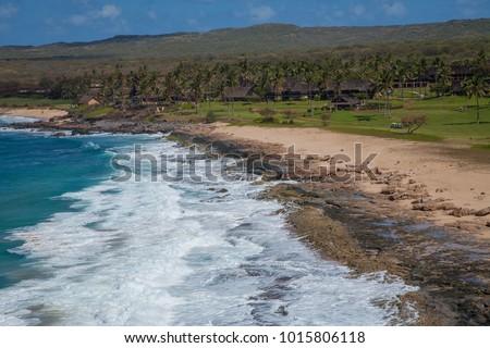 shore line at at papohaku beach ...