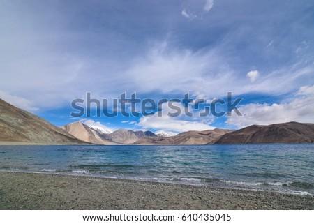 Shore of Pangong Lake in Leh, Ladakh, India. #640435045