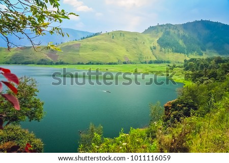 Shore of the magnificent Lake Toba on the Sumatra Island, Indonesia #1011116059