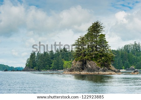 Shore with small island of Vancouver Island, British Columbia, Canada
