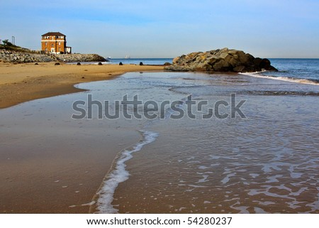 Shoreline at Atlantic Ocean and Mouth of Chesapeake Bay, Fort Story, Virginia Beach, Virginia