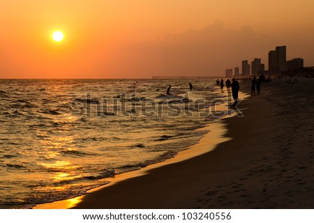 Shoreline of Panama City Beach at sunset